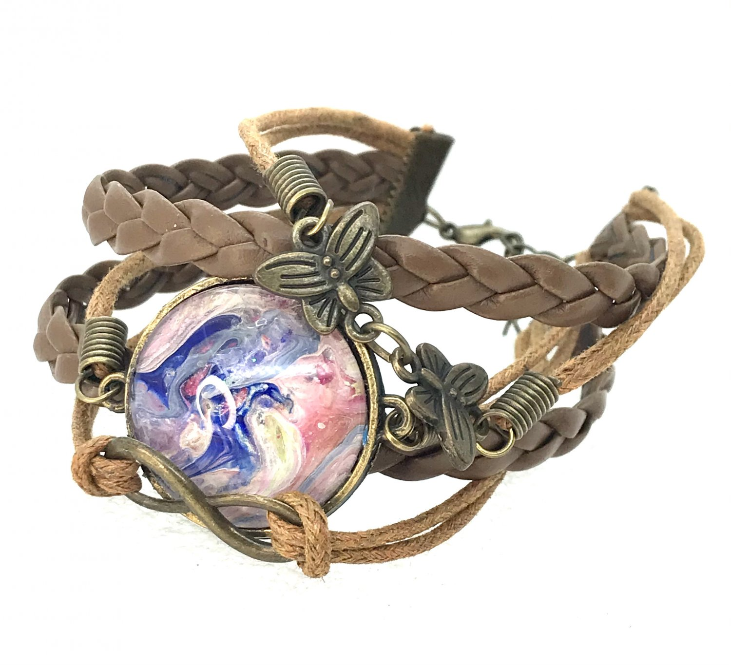 Bracelet leather with charms handmade dome 25mm lobster clasp