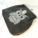 Owl Coin purse with handmade 20mm snap