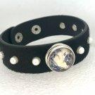 Cowhide Snap Bracelet with pearls & handmade snap 18mm adjustable
