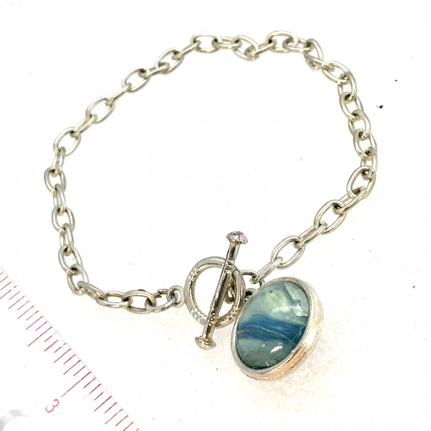 Bracelet chain links and Handmade 16mm double dome charm