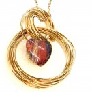Gold wire hoops Pendant Necklace 18mm Snap Jewelry
