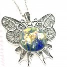 Butterfly Necklace Snap 30mm handmade Statement.  interchangeable  jewelry gingersnaps