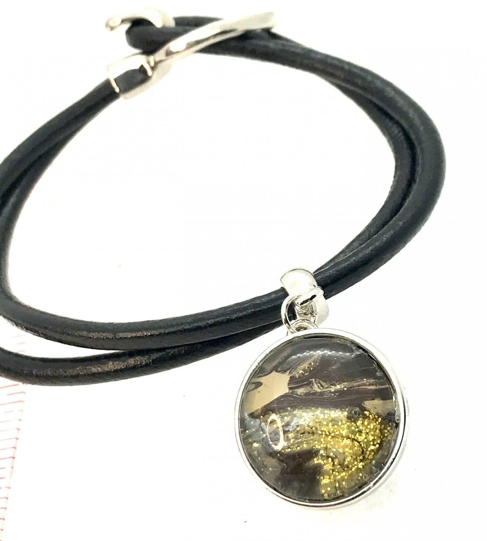Snap Bracelet handmade snap 18mm Leather
