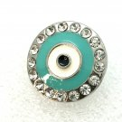 Snap 20mm evil eye blue and silver crystals