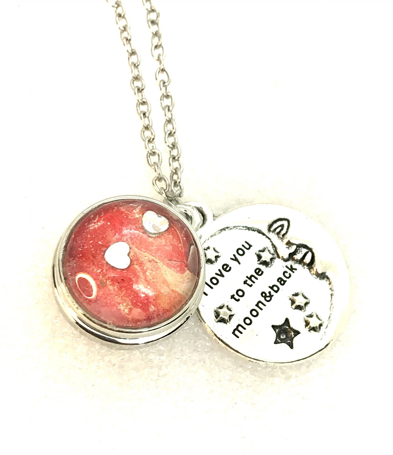 Snap Necklace 18-20mm  Hand Painted  Love you  to the moon and back Moon  Stars