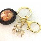 Handmade dome keychain charms horse rhinestones