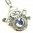 Snowman Pendant 20mm handmade Snap  Necklace  18mm Snap Jewelry