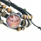Beads and Leather Snap Bracelet handmade snap  18mm