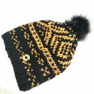 Hand knit Nordic design hat with removable Pompom