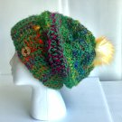Hand crocheted silk hat with removable Pompom