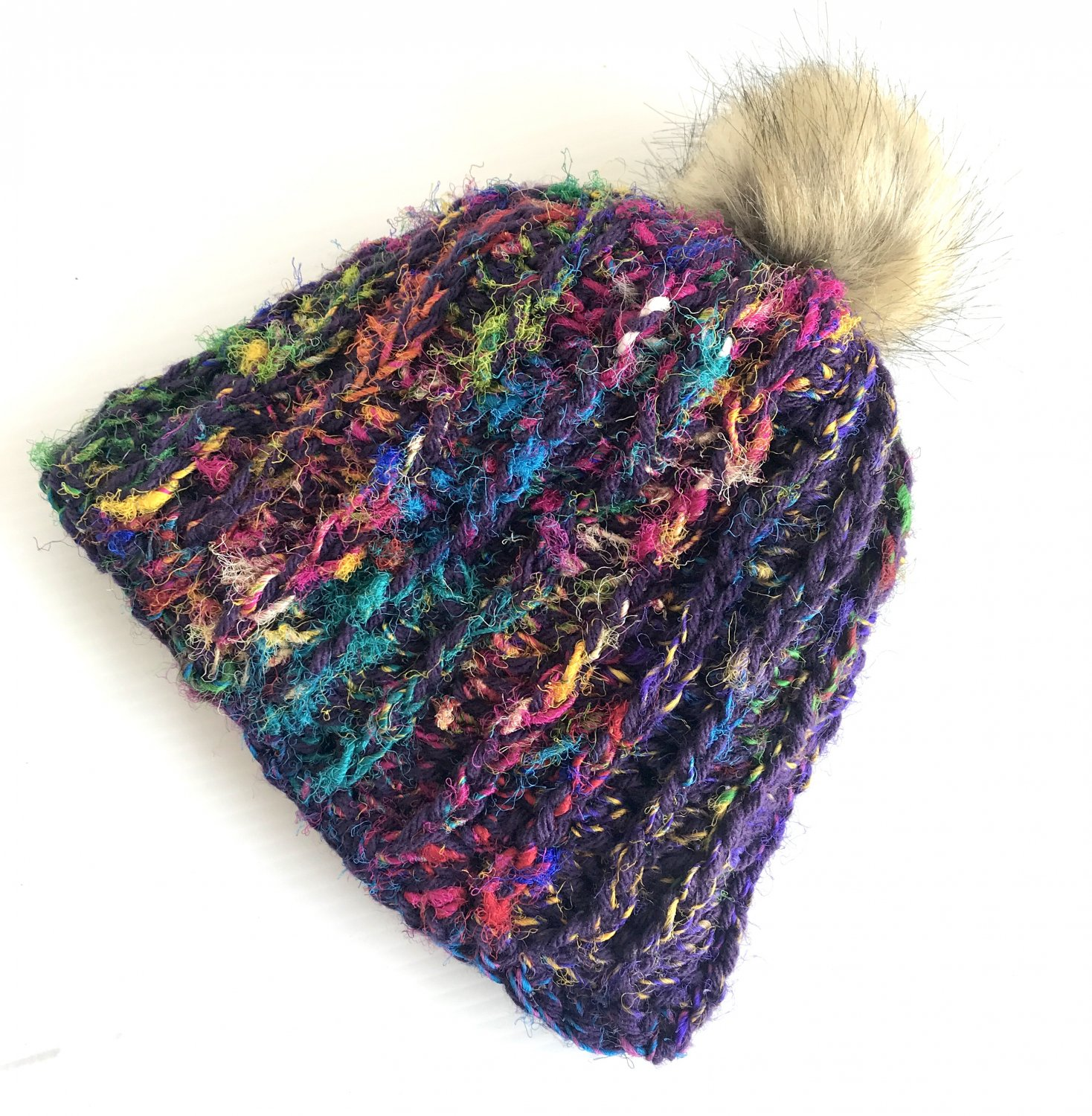 Hand crocheted silk beanie hat with removable Pompom