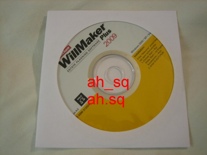Brand New Authentic Intuit WillMaker Plus 2009.