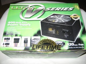 Brand New Sealed Black Ultra V Series 400 Watt ATX Power Supply Lifetime Warranty