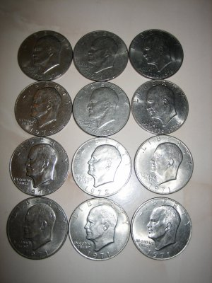 10 Circulated Ike Eisenhower Dollars USA 1971 1972 1974 1976 1977 1978