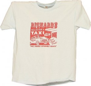 VINTAGE RETRO STYLE RICHARD'S TAXI T-SHIRT TEE LG L $10