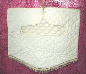 Vintage VTG White Quilted Gold Trim w/Fringe Lingerie Bag $10