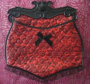 Vintage VTG Red Quilted Panty Faux Lace Lingerie Bag $15