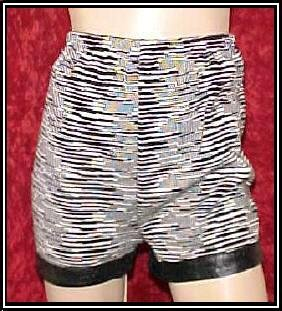 Black White Vintage Mod Hot Pants Faux Leather Trim S Small $5