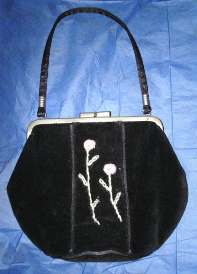 Black GYMBOREE Gothic Lolita Velvet Small Frame Purse Pink Green Embroidery $8