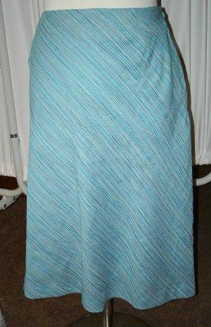 Parisian Dept Store Lt Blue & Green Striped Skirt 14 L Large $8