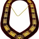 Masonic regalia Shriner sphinx metal chain collar maroon backing