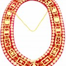 Masonic deluxe royal arch mark master metal chain collar red backing