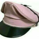 Real Leather pink Leather Biker,Peaked,muir,Army,police,Gay Chain Cap Party Hat