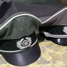 Set of 2 Wwii german cruiser caps green wool and grey gaberdine cloth