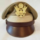 WW2 US Army Aircorps Military Airforce Officers Khaki Crusher Visor Hat Cap Repr