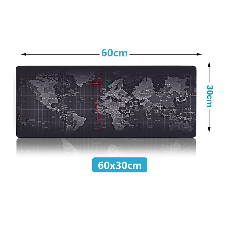 World Map Pattern Mousepad 600x300mm XL Size Computer Mouse Pad Desk Mat