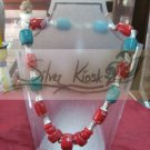 N030 necklace with red&blue stone bead