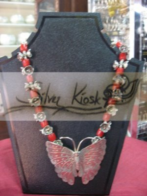 N031 Necklace with butterfly silver pendant with red stone &flowers bead