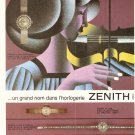1966 Vintage Zenith Watch French AD jewelry violin lady