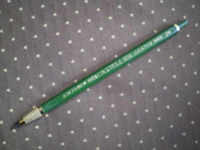 VINTAGE A.W. FABER CASTELL LOCKTITE 9400 2H GREEN LEADHOLDER PENCIL GREEN PUSHBUTTON