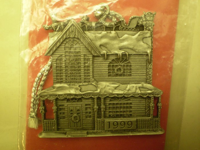 1999 INDIANA METAL CRAFT HOUSE ORNAMENT SOLID PEWTER SEASONS GREETINGS