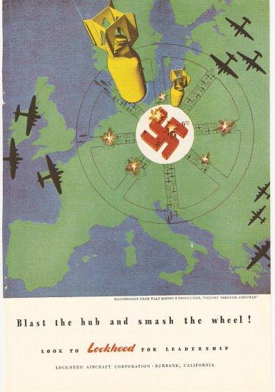 "1944 Vintage Ad - Lockheed Aircraft ""Blast the hub and smash the wheel!"" WWII WW2"