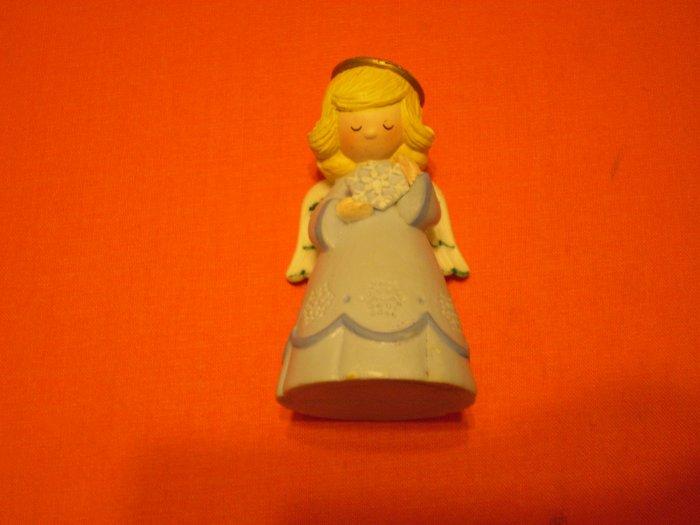Merry Miniature Hallmark Angel blue dress with Snowflake 1980