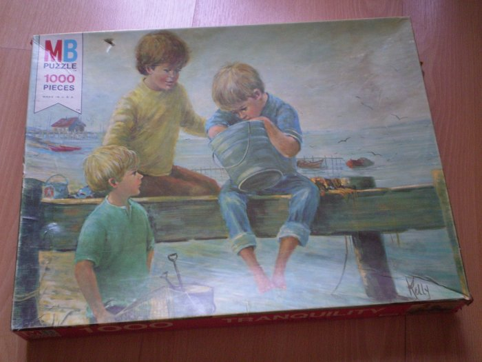 Vintage 1975 Jigsaw Puzzle Milton Bradley Tranquility 4595-3 MB SEALED 1000pc BOYS FISHING