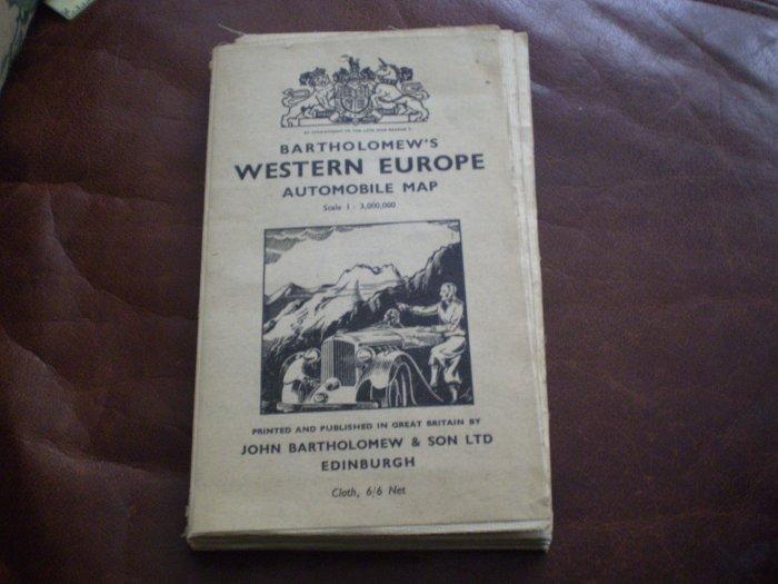 Vintage Bartholomew Western Europe Automobile Map 1:3,000,000 CLOTH