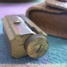 VINTAGE DUX GERMANY LEAD PENCIL SHARPENER brass in leather case