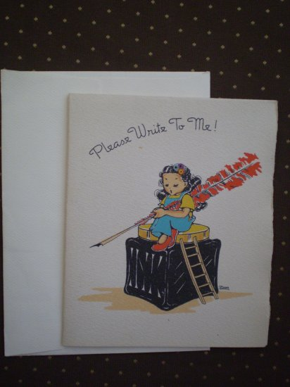 "VINTAGE NOTE CARD ""PLEASE WRITE TO ME"" TREASURE MASTERS ZOPA or ZORA"