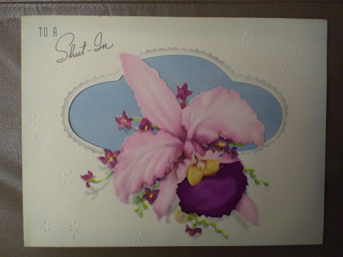 """VINTAGE GREETING CARD ARTISTIC """"TO A SHUT-IN"""" FLOWER ORCHID"""