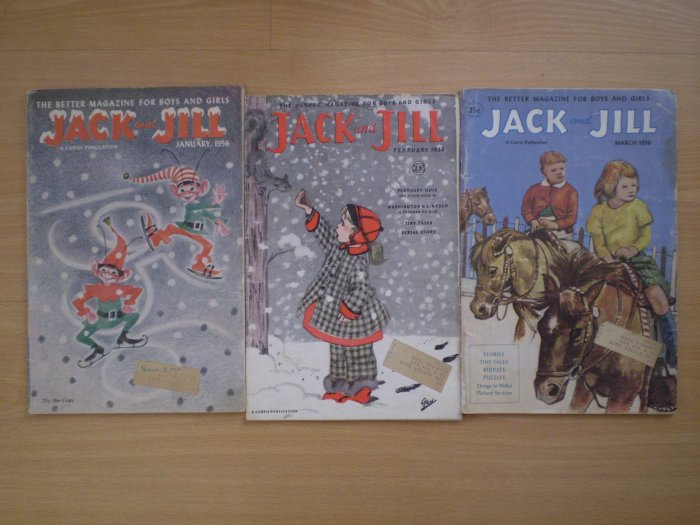 Lot 3 Vintage Jack and Jill Magazine 1956 January February March