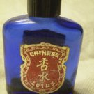 VINTAGE CHINESE LOTUS EMPTY PERFUME BOTTLE  blue glass