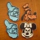 LOT 4 VINTAGE DISNEY MAGNETS - GOOFY, MINNIE MOUSE, DWARF DOC