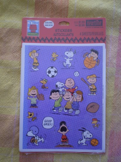 NEW HEARTLINE STICKERS PEANUTS GANG HALLMARK SPORTS