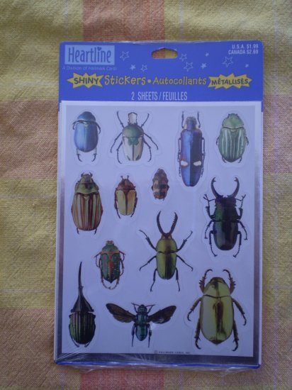 NEW HEARTLINE STICKERS SHINY INSECTS BUGS HALLMARK
