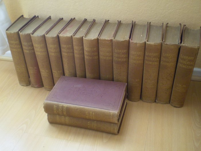 1882 Complete Set 15 Vol Library Of Universal Knowledge SW Green Son