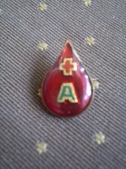 "Vintage Blood Drop Red Cross Pin ""A"" Enamel"