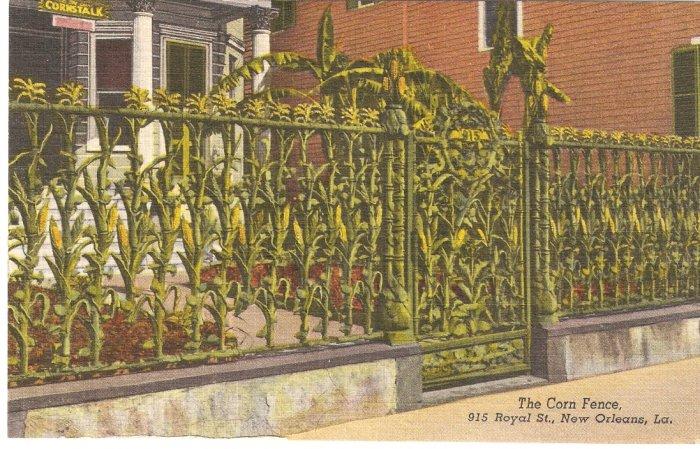 Corn Fence, 915 Royal St, New Orleans, LA postcard vintage